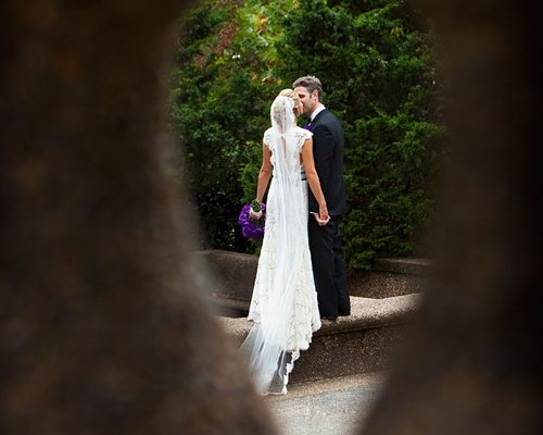 picture of bride and groom kissing
