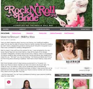 Dolce's new video course (Me & You Video), blogged about on Rock n' Roll Bride blog, June 29, 2010.