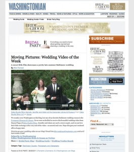 A Dolce montage selected Wedding Video of the Week on Washingtonian's blog. Check out Adam and Laura's fun video there under September 29, 2011.