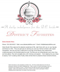 Dolce listed In District Weddings as a 'District Favorite for 2013'